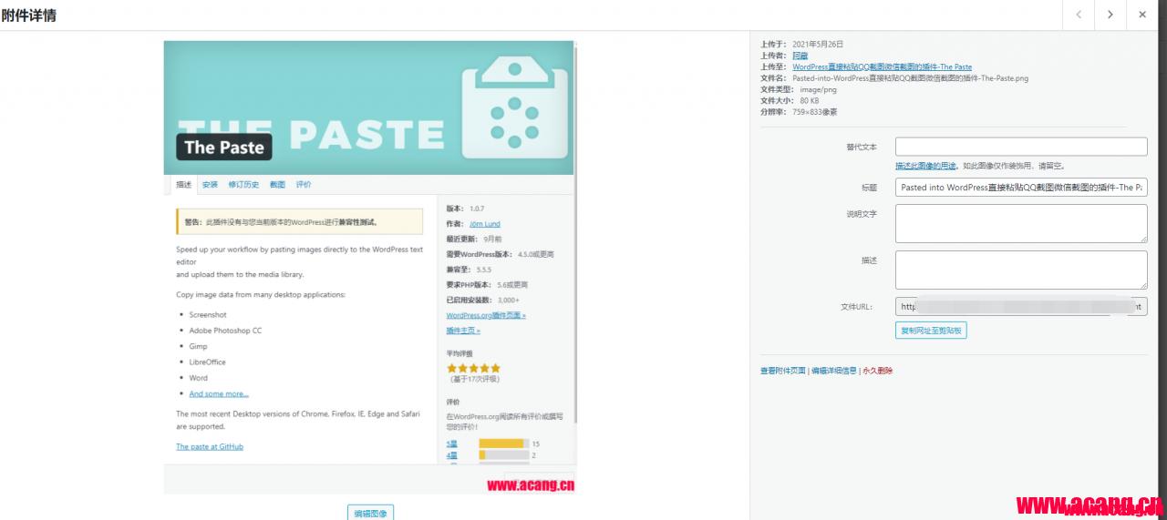 WordPress直接粘贴QQ截图微信截图的插件-The Paste