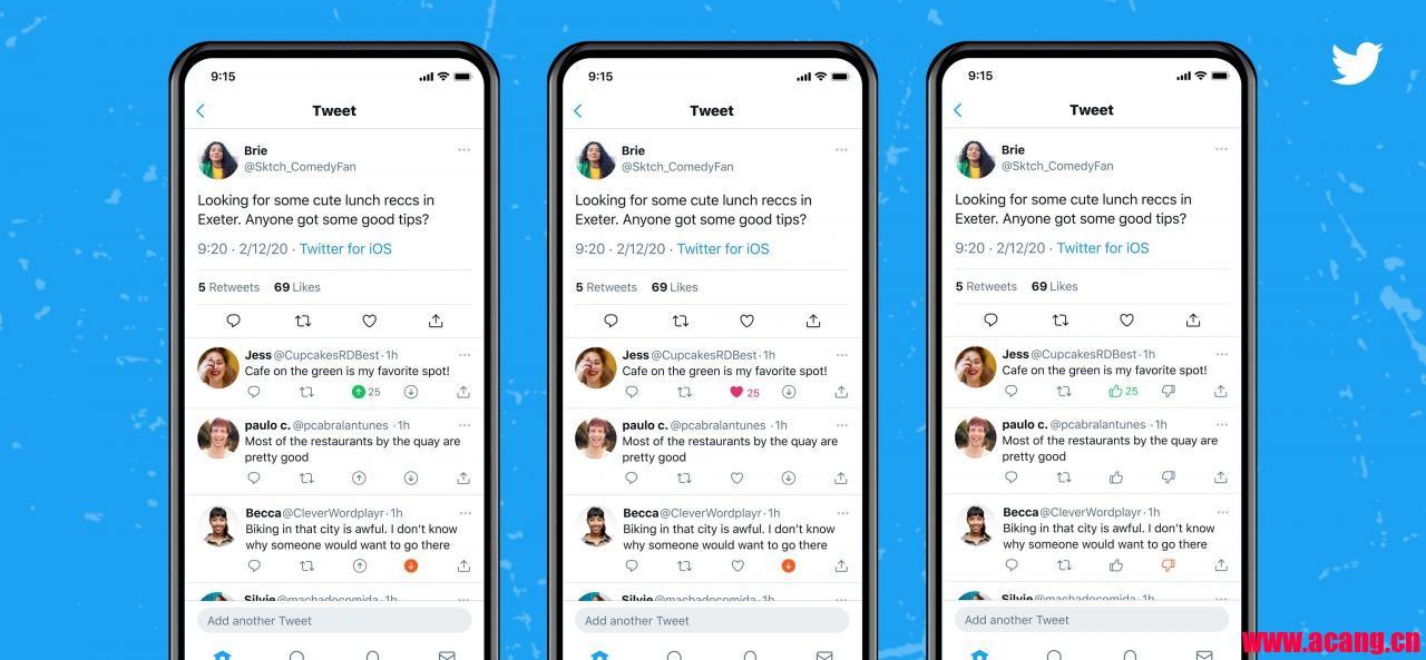 """""""顶""""或""""踩"""":Twitter正在测试推文新回复方式"""